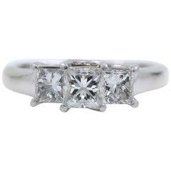Three-Stone Platinum Diamond Engagement Ring Princess 1.46 Carat