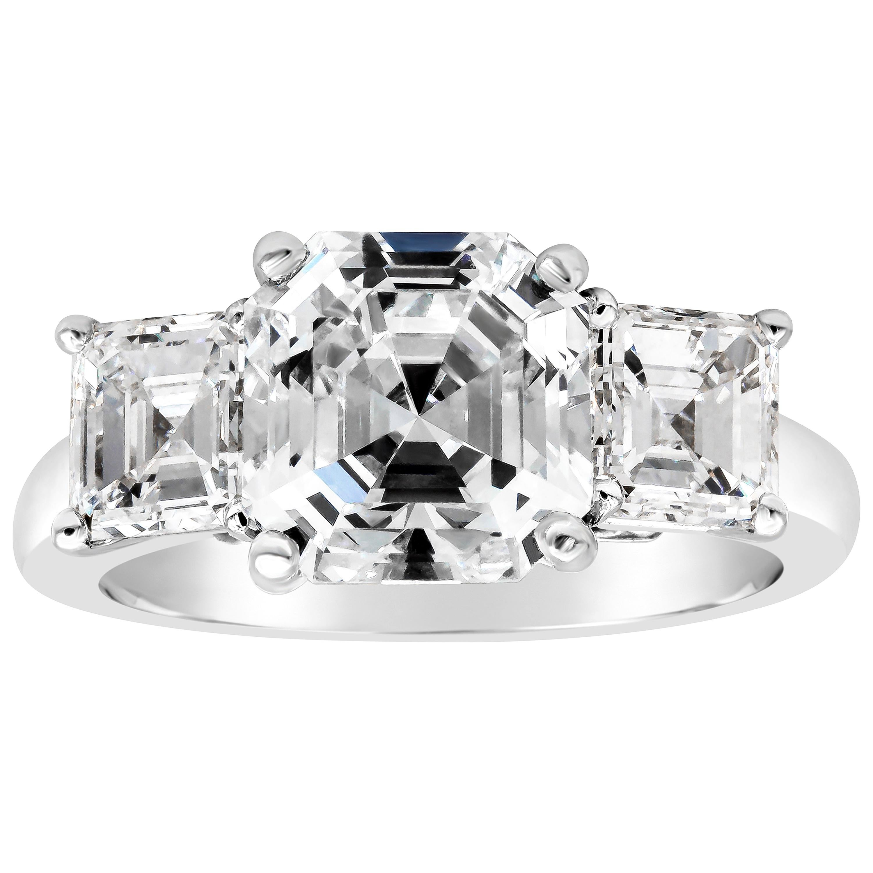 Roman Malakov GIA Certified Asscher Cut Diamond Three-Stone Engagement Ring