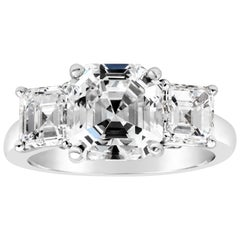 GIA Certified Asscher Cut Diamond Three-Stone Engagement Ring