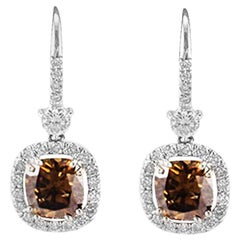 GIA Certified 4.13 Carat Total Cushion Cut Fancy Brown Diamond Earring