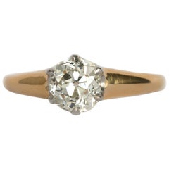 1890s Victorian .94 Carat Antique Cushion Cut Diamond Engagement Ring