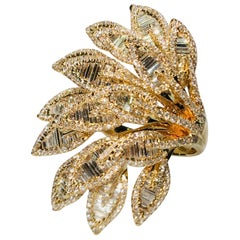"Flamboyant 11.5 Carat Diamond ""Princess of Peacock"" Very Large Yellow Gold Ring"