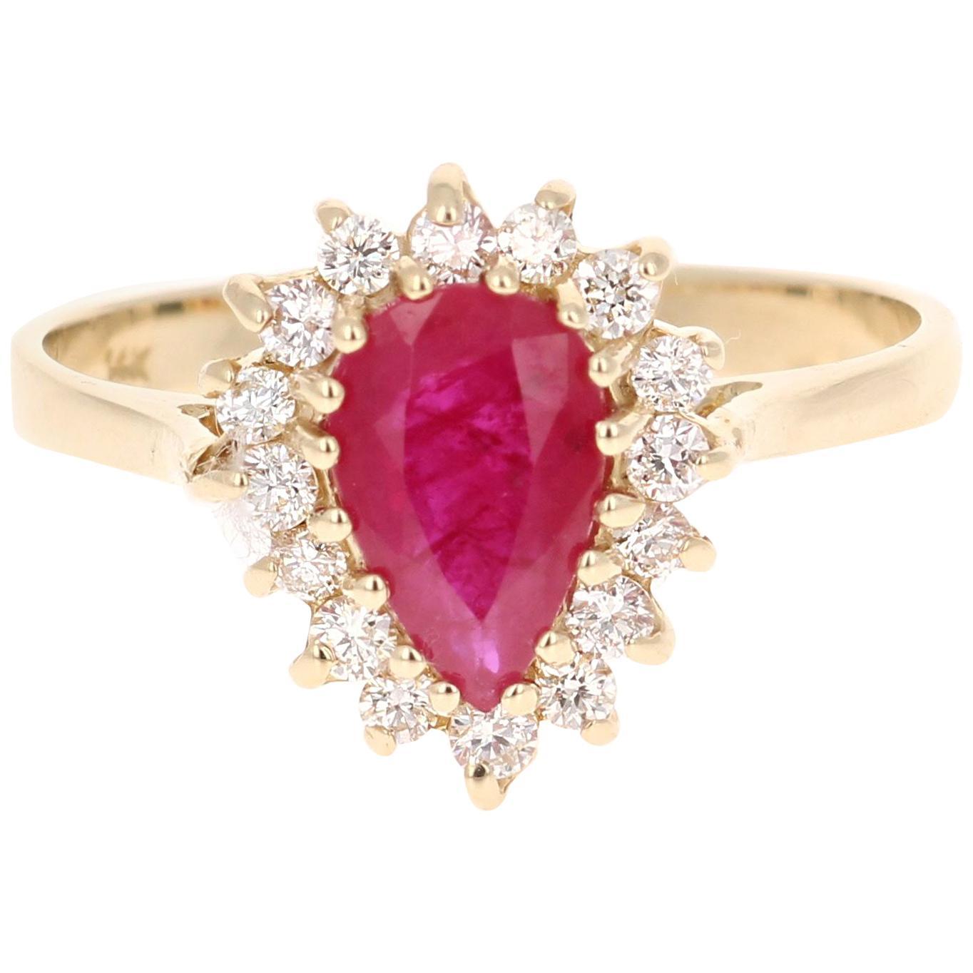 1.45 Carat Ruby Diamond 14 Karat Yellow Gold Ring