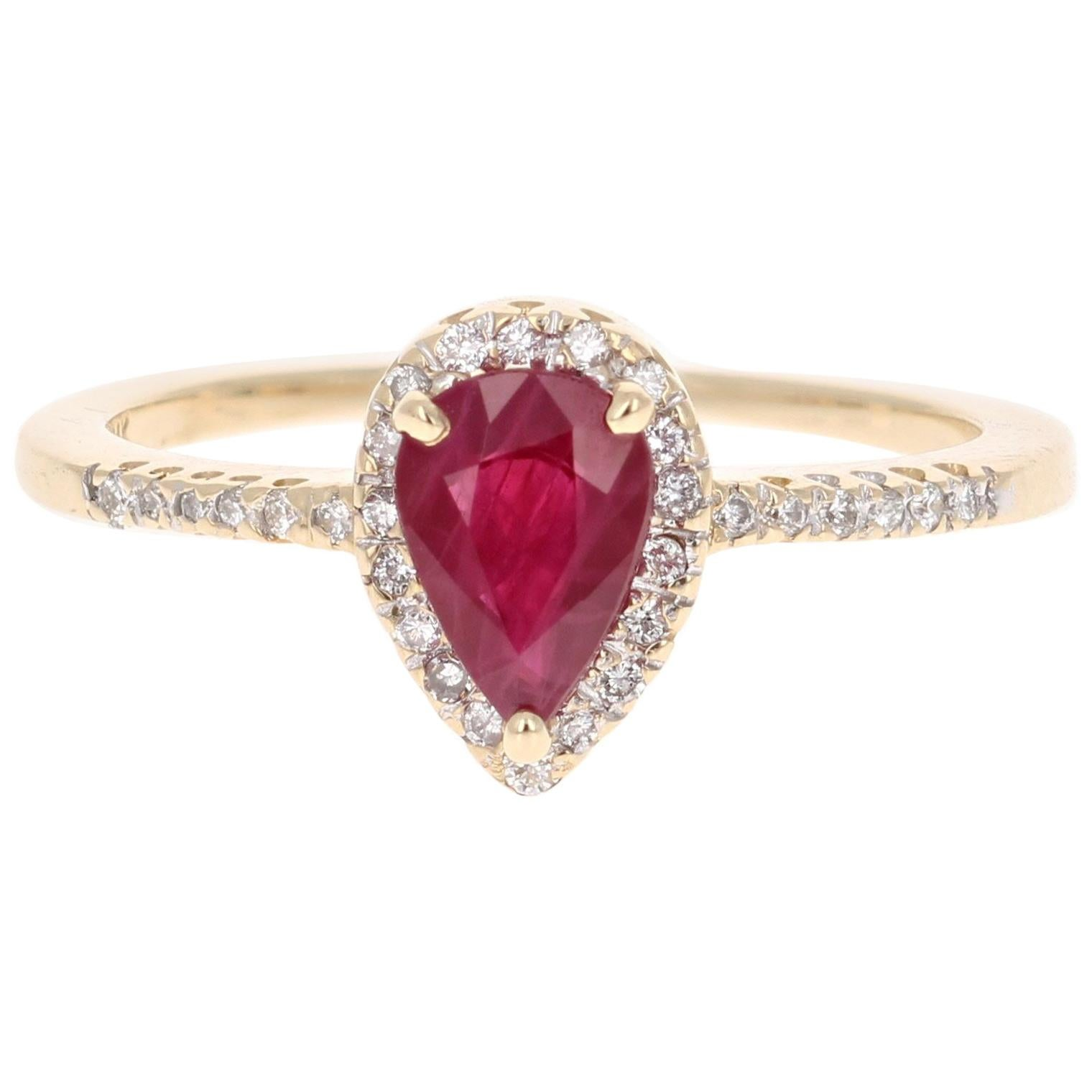 1.08 Carat Pear Cut Ruby Diamond 14 Karat Yellow Gold Bridal Ring