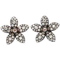Antique 19th Century Old Mine Cut Diamond Flower Earrings