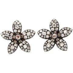 Antique 19th Century Old Mine Cut Diamond Flower Earrings