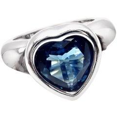 Piaget London Blue Topaz White Gold Heart Ring
