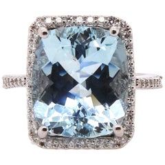 8.05 Carat Aquamarine and Diamond Ring