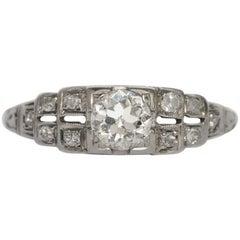 1920s Art Deco .45 Carat Old European Brilliant Cut Diamond Engagement Ring