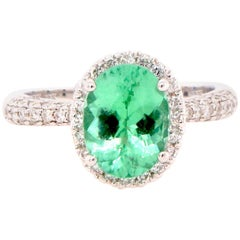 2.14 Carat Paraiba Tourmaline and Diamond Ring