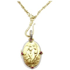 Seiden Gang Diamond Ruby Locket Yellow Gold Necklace