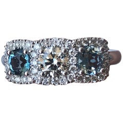 1.40 Carat tw apprx Three Stone Diamond and Aquamarine 14k w Ring, Ben Dannie