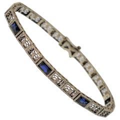 14K White Gold Antique Filigree & Blue Sapphire Bracelet