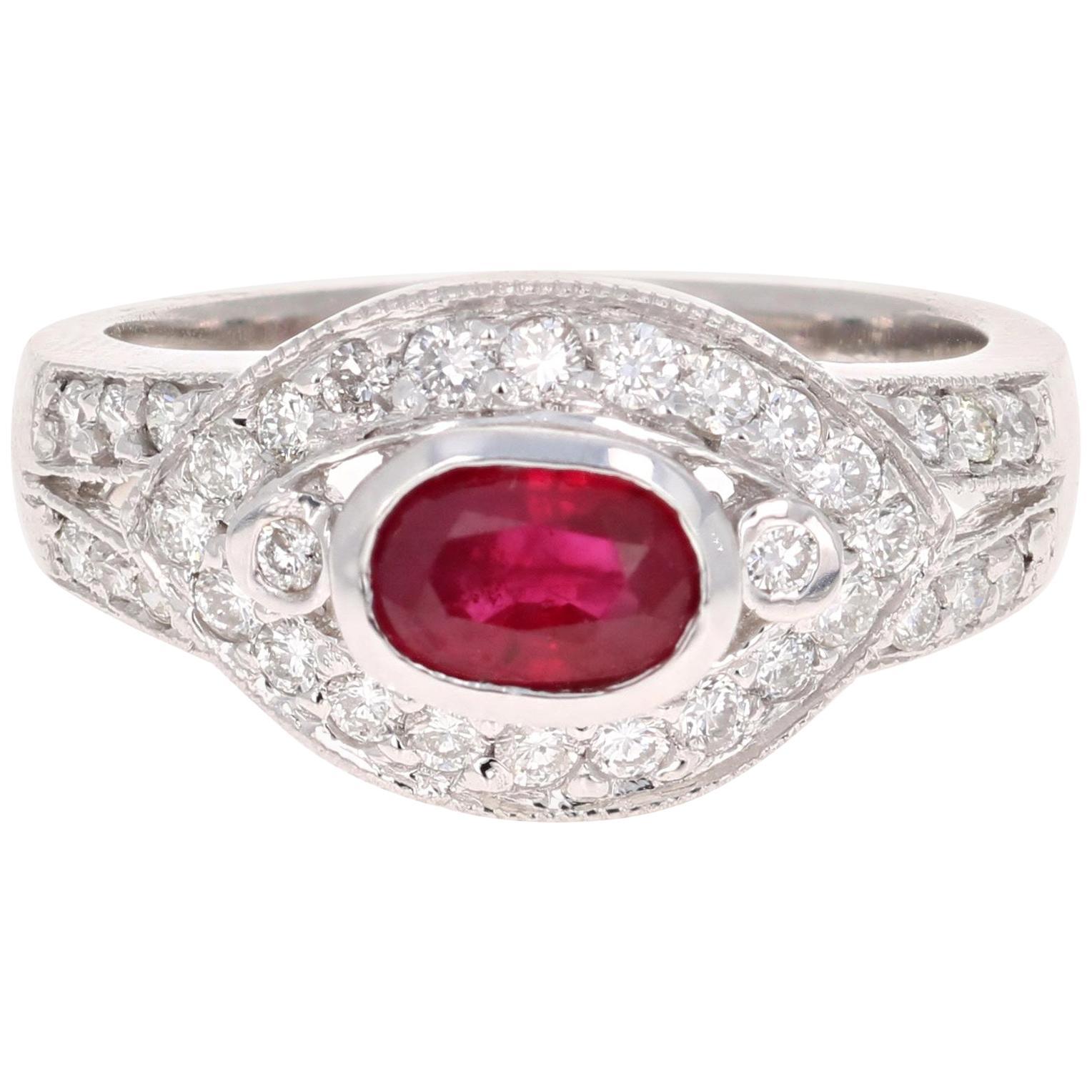 1.51 Carat Oval Cut Burmese Ruby Diamond 14 Karat White Gold Ring Cocktail