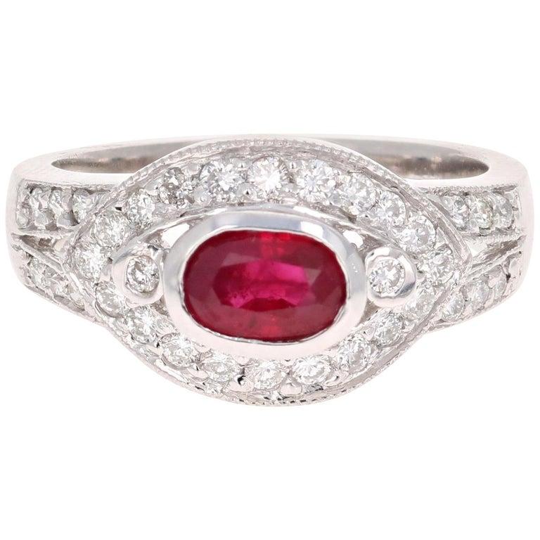 1.51 Carat Oval Cut Burmese Ruby Diamond 14 Karat White Gold Ring Cocktail For Sale