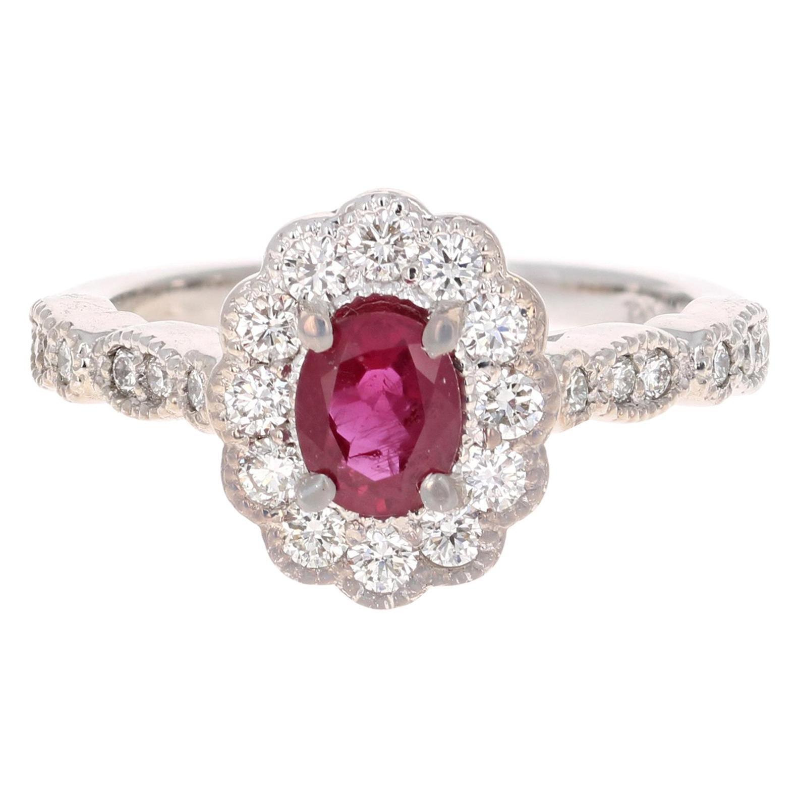 1.65 Carat Oval Cut Burmese Ruby Diamond 14 Karat White Gold Bridal Ring