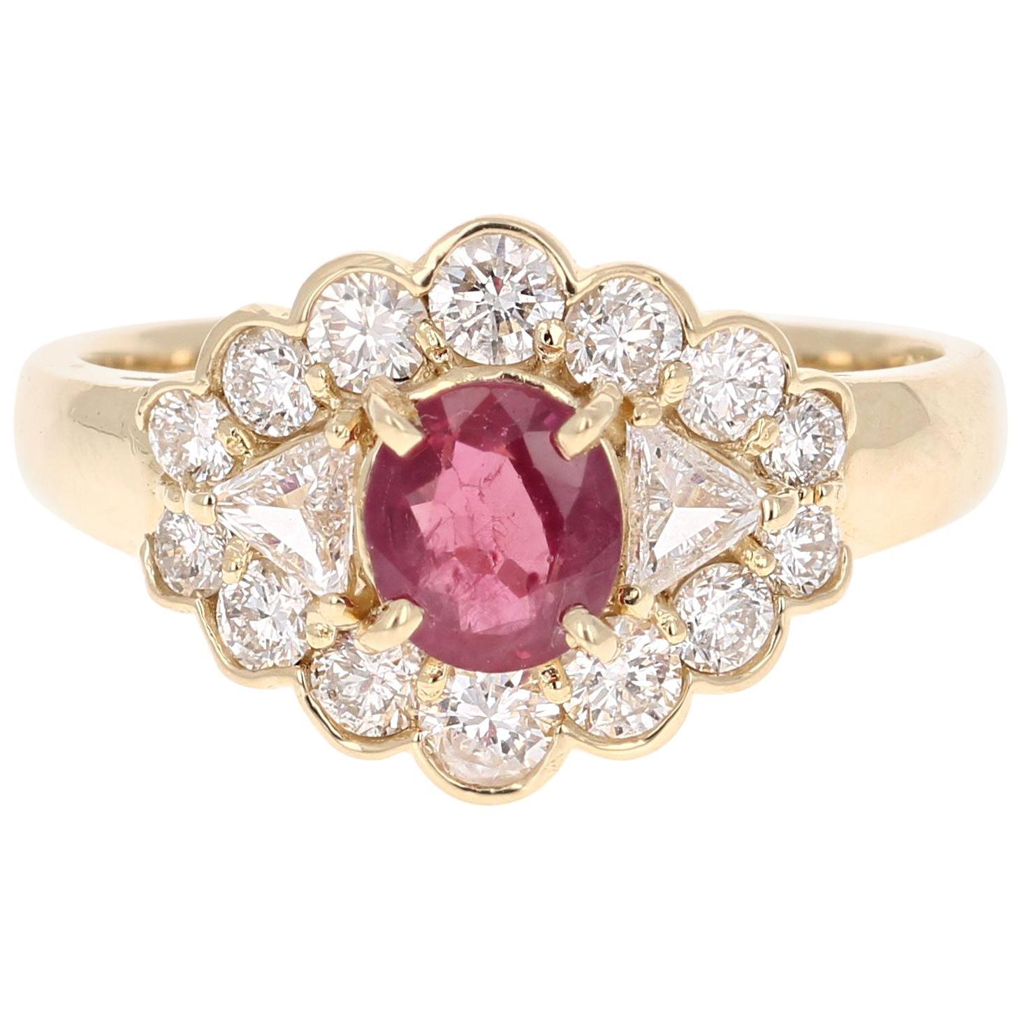 1.75 Carat Oval Cut Burmese Ruby Diamond 14 Karat Yellow Gold Cluster Ring