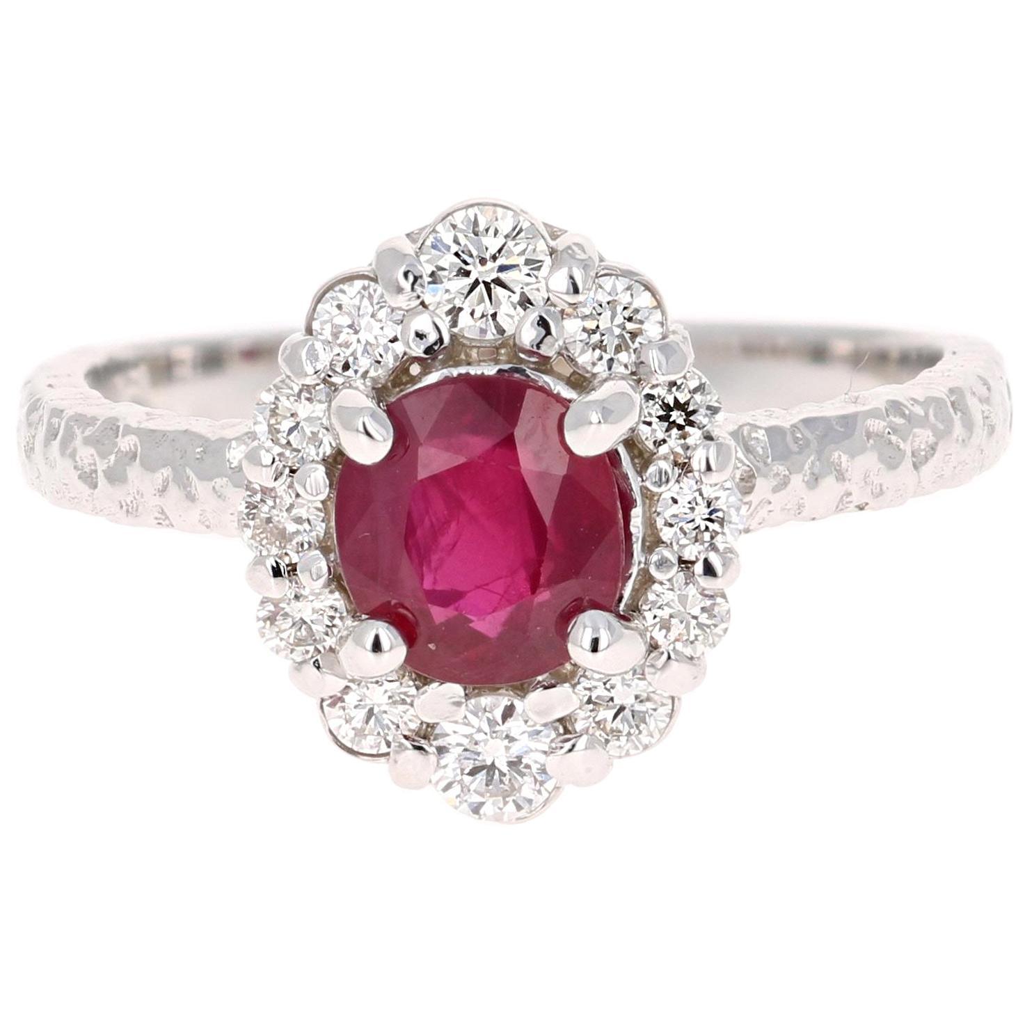 1.46 Carat Oval Cut Burmese Ruby Diamond 14 Karat White Gold Bridal Ring