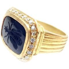 Seiden Gang Diamond Black Agate Intaglio Bug Yellow Gold Ring