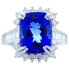 8.33 Carat Cushion Tanzanite and Baguette Diamond Cocktail Ring in White Gold