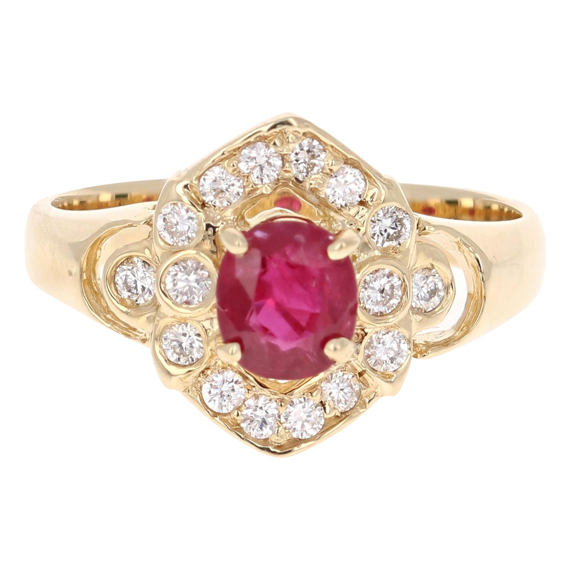 1.20 Carat Oval Cut Burmese Ruby Diamond 14 Karat Yellow Gold Cluster Ring