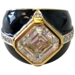 Yellow Diamond Emerald Cut and White Diamond Rounds in 18 Karat and Black Enamel