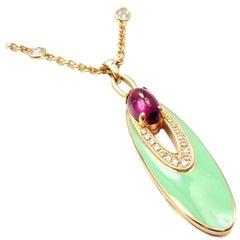 Bulgari Diamond Amethyst Green Enamel Elisia Yellow Gold Pendant Necklace