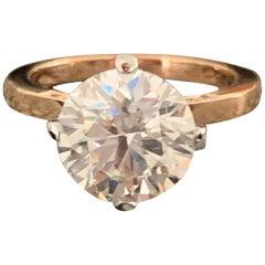 2.7 Approximate Carat Round Diamond Ring 14 Karat Rose Gold, Ben Dannie