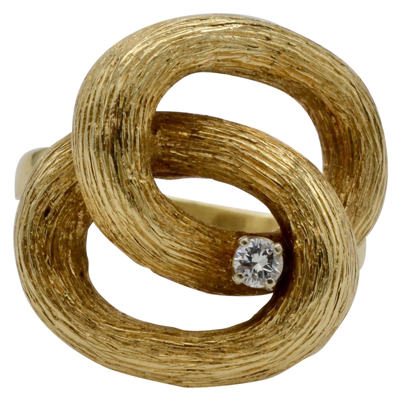 14 Karat Gold Double Loop Diamond Ring 1970
