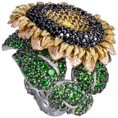 Alex Soldier Diamond Tsavorite Garnet Gold Sunflower Ring