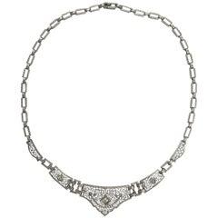 Art Deco Filigree Platinum and Gold Diamond Necklace