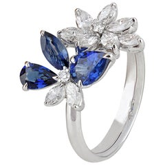 Studio Rêves 18 Karat White Gold Diamonds and Blue Sapphire Butterfly Ring