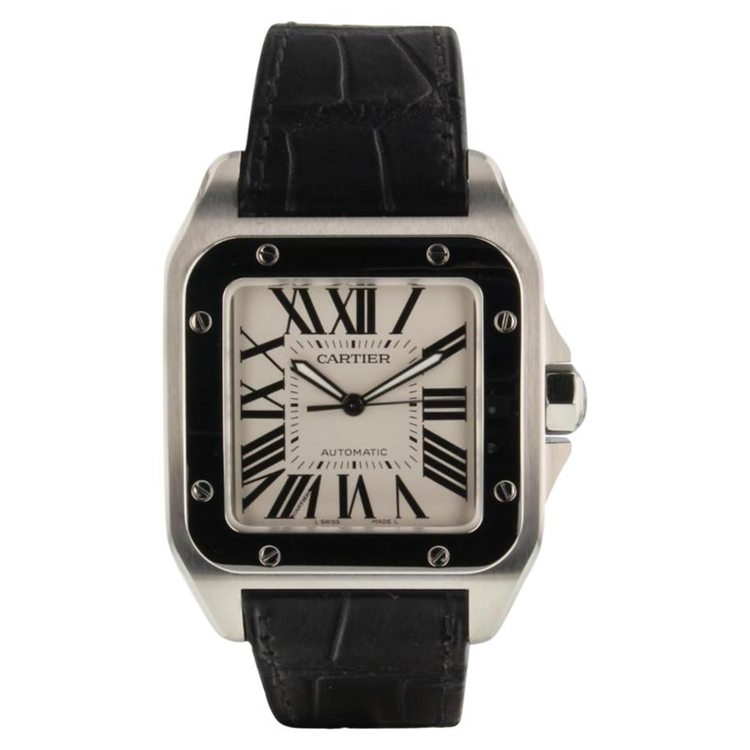 dbcf4cc2ece1 Cartier Santos 100 White Dial Automatic Large Model Mens Watch W20073X8  Complete For Sale at 1stdibs