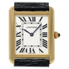 Cartier New Tank Solo W5200004 Ladies Gold Leather Box/Paper/2 Year Warranty