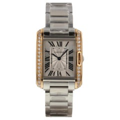 Cartier Tank Anglaise 18K Pink Gold Steel Diamonds Watch W3TA0003 Complete 2018