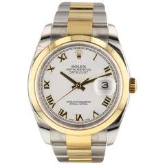 Rolex Datejust Two Tone Steel 18K Yellow Gold White Roman Watch 116203 Box Card