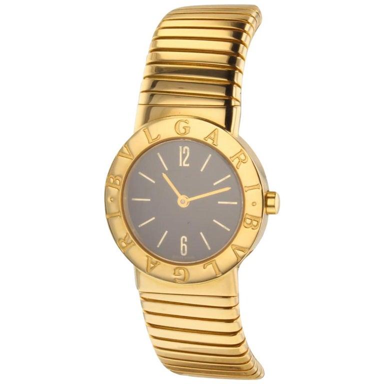 Bulgari Tubogas Quartz 18 Karat Yellow Gold Quartz Watch BB26.2T For Sale.  Bvlgari ... b229371d45f04