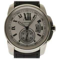 Cartier New Calibre W7100037 Steel Leather Silver Box/Papers/Warranty #CA40
