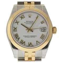 Rolex New Datejust 178243 Steel Gold White Roman Box/Paper/Warranty #RL294
