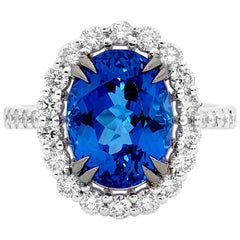 6.08 Carat Tanzanite and Diamond Dress Ring