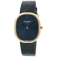 Patek Philippe Ellipse 3738 Men's Automatic Watch 18 Karat Yellow Gold Blue Dial