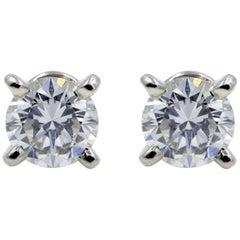 Cartier Diamond Round Cut Stud Earrings GIA 0.49 Carat Platinum