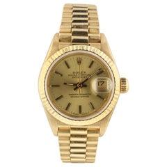 Rolex Ladies President Datejust 18 Karat Yellow Gold Automatic Watch 69178 Mint