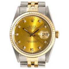 Rolex Datejust 16233 Mens Automatic Watch Factory Diamond Dial Champagne 18k 36m