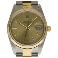 Rolex Date 15203 Steel Yellow Gold Champagne 2000 Box/Paper/Warranty #287-1