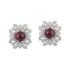 Set in 18 Karat Gold, Art Deco Style Burmese Spinel Earring Studs with Diamonds