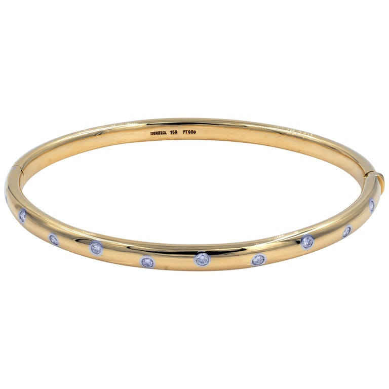 74031d0bd Tiffany and Co. Yellow Gold Diamond Bangle 0.21 Carat For Sale at ...