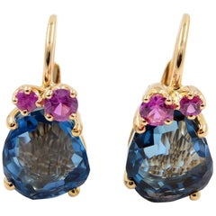 Pomellato Bahia 18 Karat Rose Gold Blue London Topaz and Pink Sapphire Earrings