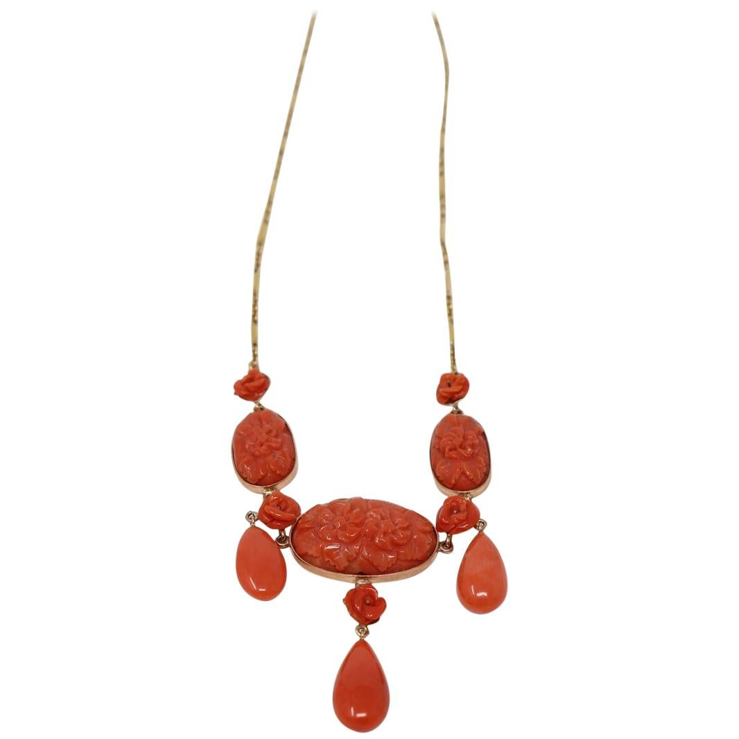 Rare Pendent Necklace in Gold with Carved Coral, 1980s