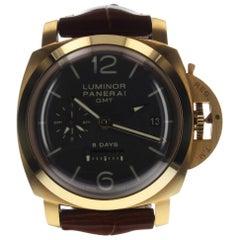 Panerai Luminor 1950 GMT 8 Days 18 Karat Rose Gold Brown Watch PAM00576 PAM 576